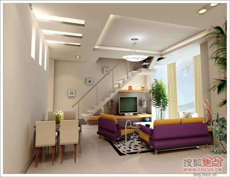 图:几个楼梯下面做影视墙效果图