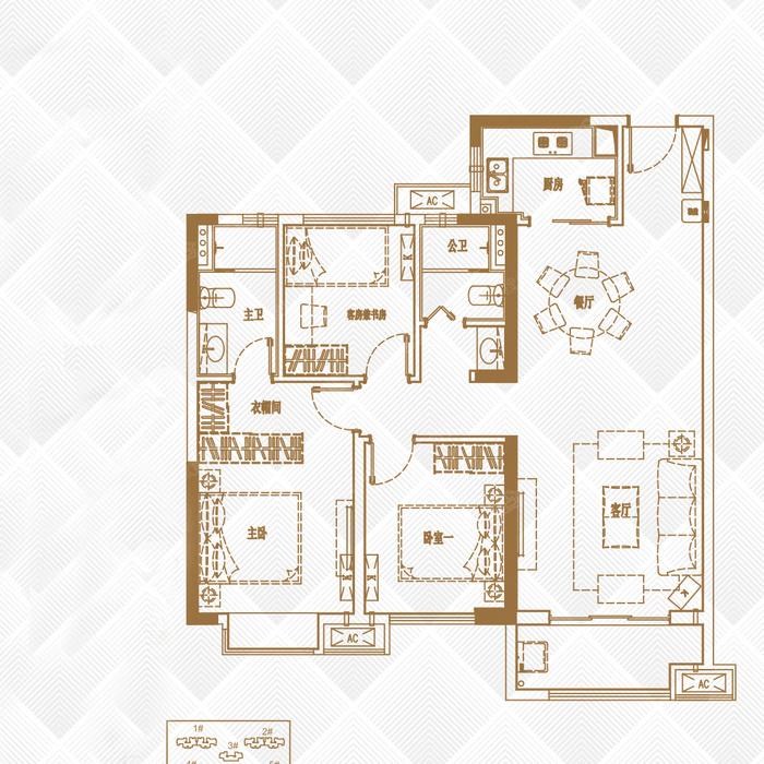 四房一厅地基设计图纸 建房  四房一厅一厨一卫设计图-四房一厅装修图