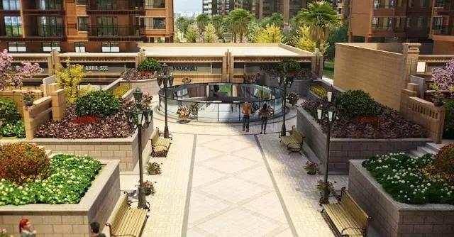 欧式园林,通过叠水喷泉,室外景观泳池,花架连廊等与各类名贵植被巧妙