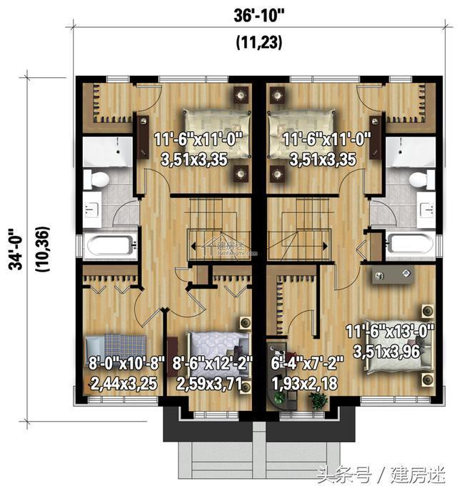 一楼平面图-4套农村自建房经济型别墅10米x10米两层砖混房屋设计图