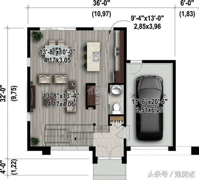 宅基地太小别怕,4套自建房别墅10米x10米两层房屋设计