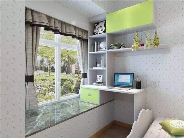 飘窗侧书桌设计,其实余下的飘窗放上飘窗垫就是一个休息的地方哦图片