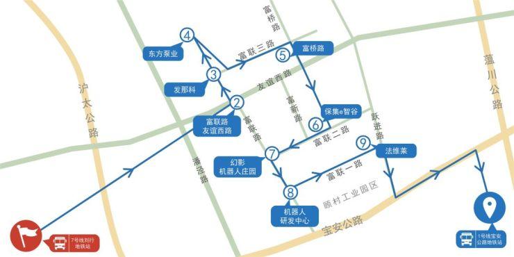 1号线宝安公路地铁站至7号线刘行地铁站线路图