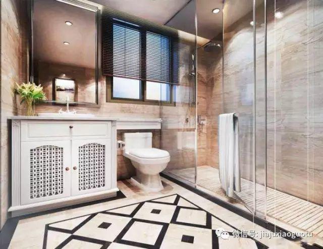 欧式卫生间洗手台浴室柜淋浴房玻璃隔断装修设计