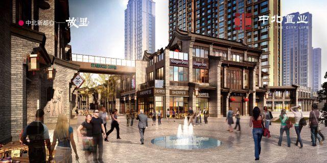空中连廊,垂直电梯,有机连接商业街区,联动10大开放式主入口和双广场