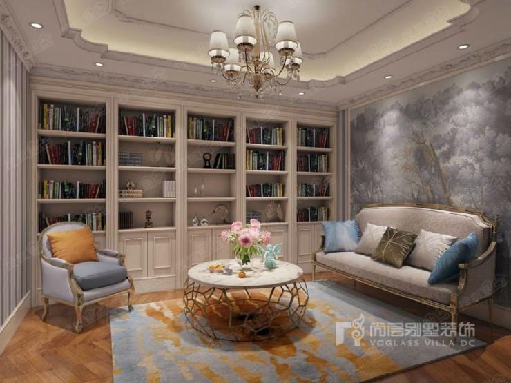 誉天下别墅法式书房装修效果图