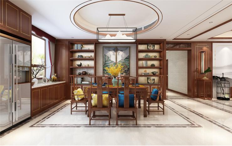 黄金山水郡四室两厅新中式风格装修效果图,宽敞明亮