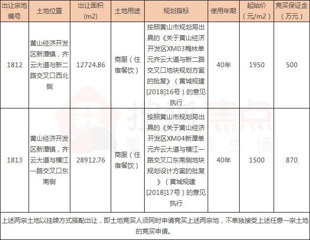 黄山经济开发区新潭镇2宗商服用地使用权挂牌出让公告