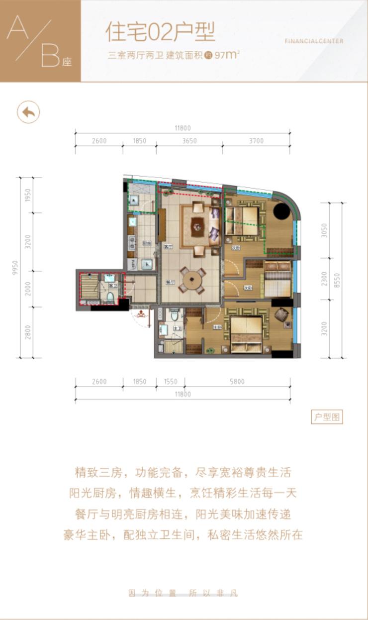 中大金融中心,地铁口物业,70年产权住宅,88