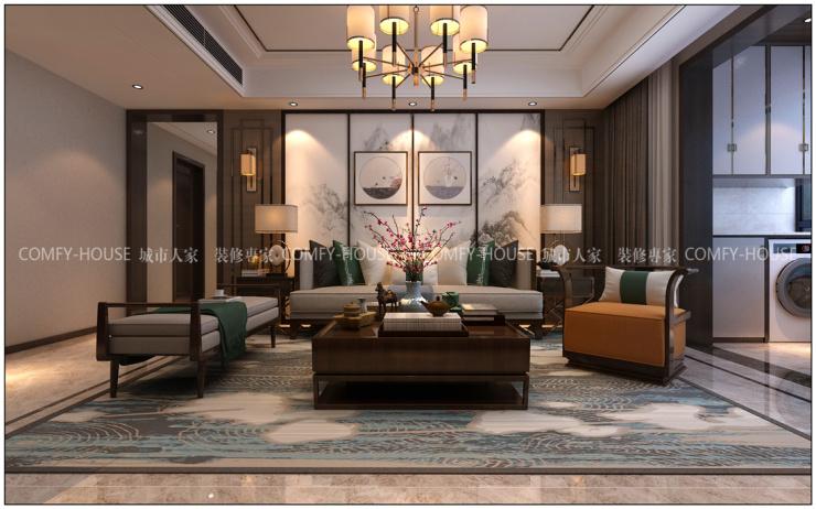 万达文旅城新中式风格装修效果图,庄重与优雅