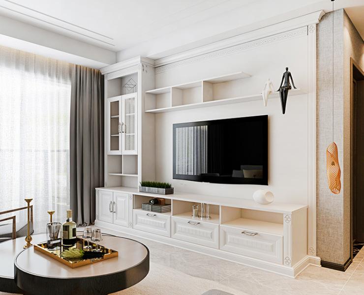 定制电视柜这样设计,做背景墙的钱省了!