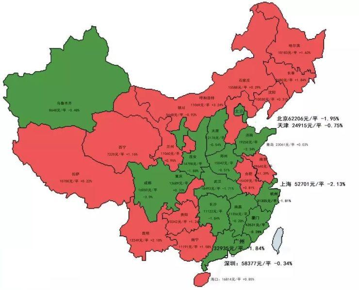 全国降价地图来了! 合肥、南京成东部唯二上涨两城!