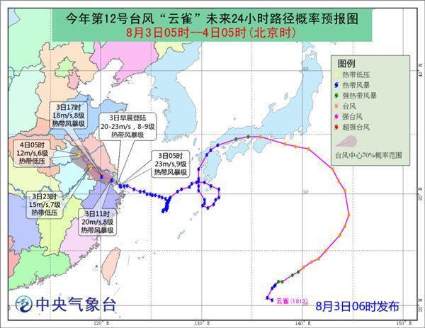 """台风""""云雀""""即将登陆上海至浙江沿海 5省迎强降水"""