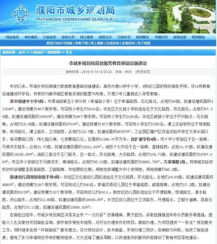 濮阳新建10所中小学,4所幼儿园,选址已公布!